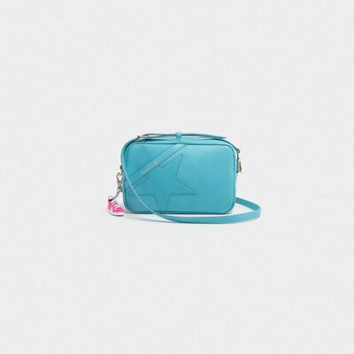 Borsa Star Bag turchese in pelle martellata