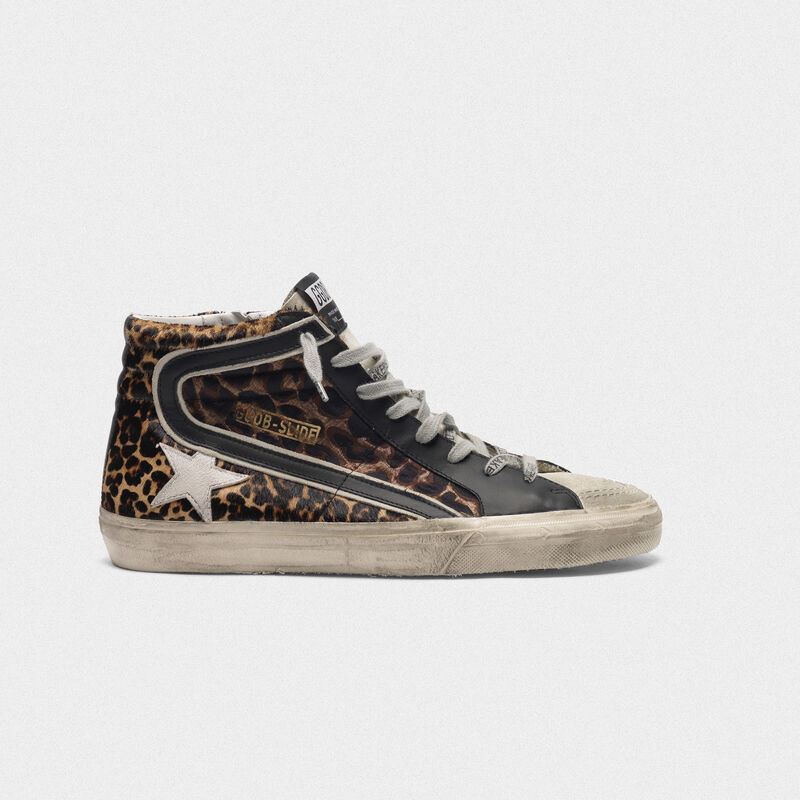 Golden Goose - Slide sneakers in leopard-print pony skin in  image number null