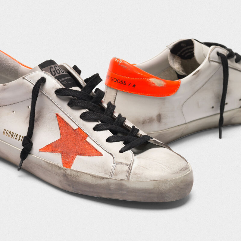 Golden Goose - Superstar sneakers with star and fluorescent orange heel tab in  image number null