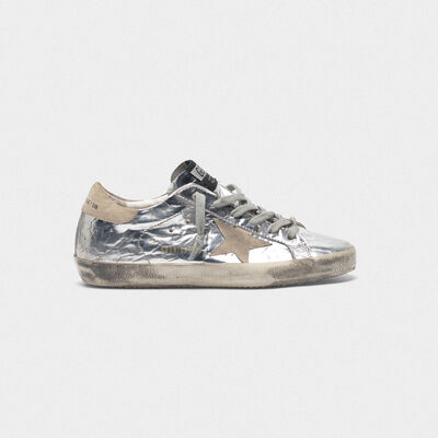 Superstar sneakers in silver-coloured leather