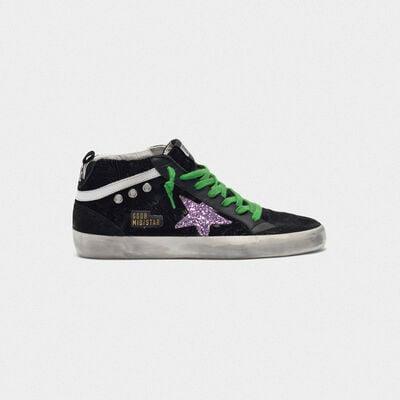 Sneakers Mid-Star in velluto damascato con stella glitter