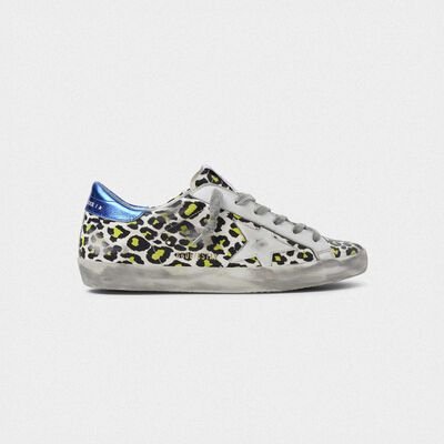 Animal-print Superstar sneakers with blue laminated heel tab