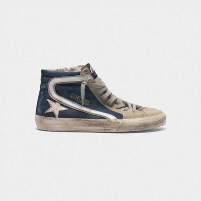 Slide sneakers in suede and denim