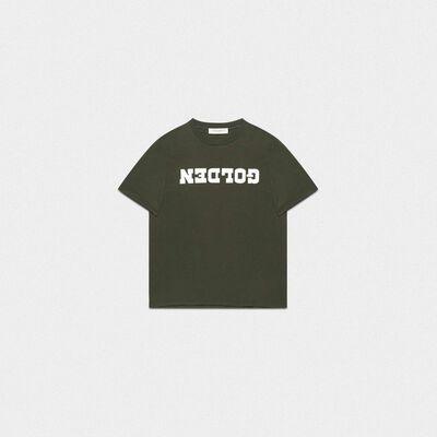 T-shirt Golden verde con stampa a contrasto