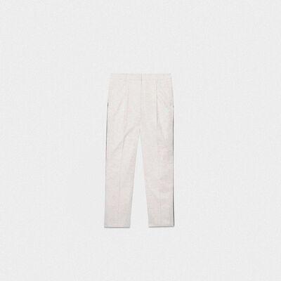 Pantaloni fitted Austin in cotone con fili multicolore