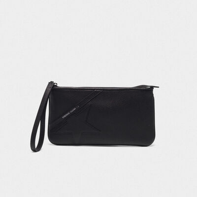 Black Star Wrist clutch bag in grained leather