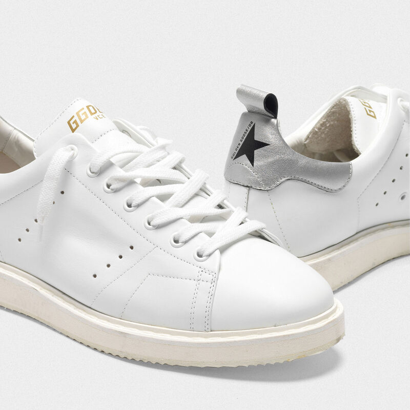 Golden Goose - Starter sneakers in leather with metallic heel tab in  image number null
