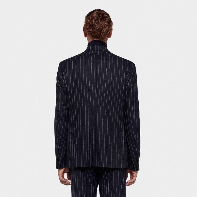 Golden Goose - Venice single-breasted jacket with pin striped pattern in  image number null