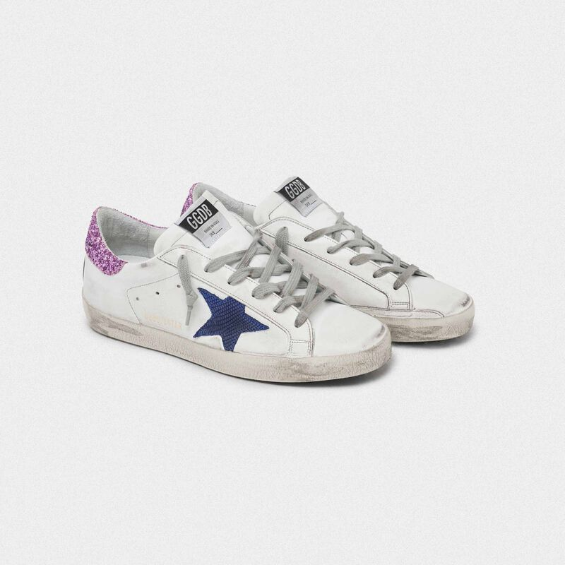 Golden Goose - White Superstar sneakers with blue star and glittery heel tab in  image number null