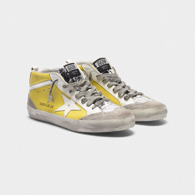 Golden Goose - Sneakers Mid-Star in pelle con dettagli cracklé in  image number null