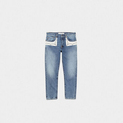 Jeans Jolly  in denim di cotone con patch ricamate