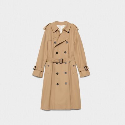 Hitoshi trench coat in wool with inserts in nylon