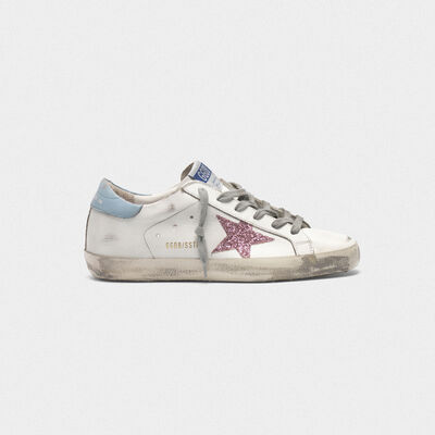 Superstar sneakers in leather with glittery star
