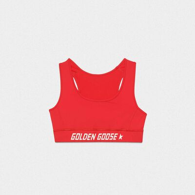 Red Keshiki top in technical fabric with contrasting logo