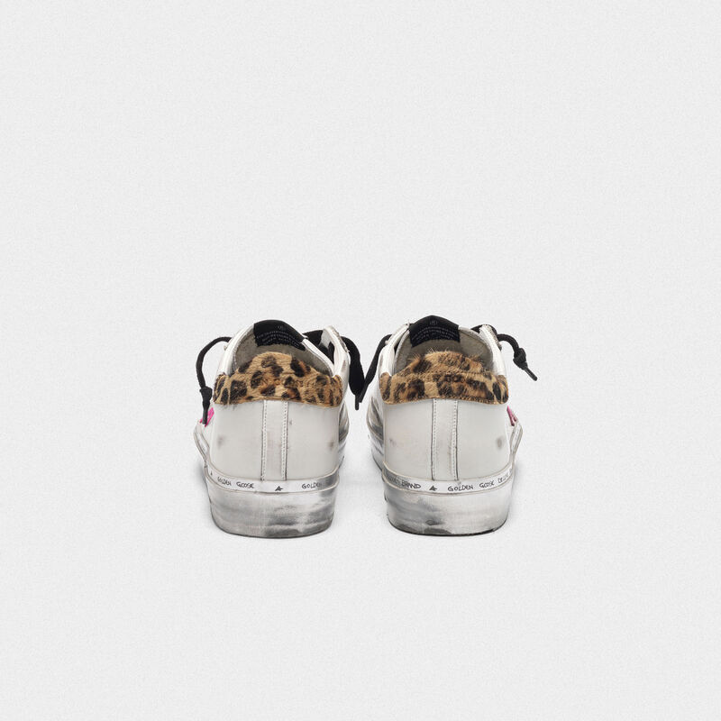 Golden Goose - Hi Star sneakers with fuchsia star and leopard-print heel tab in  image number null