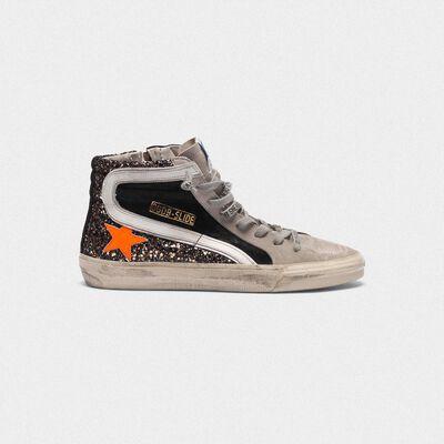 Sneakers Slide in suede con inserto in glitter