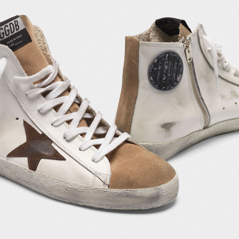 Golden Goose - Francy sneakers in nude suede and white leather with contrast star in  image number null