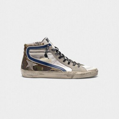 Sneakers Slide argentate e camouflage