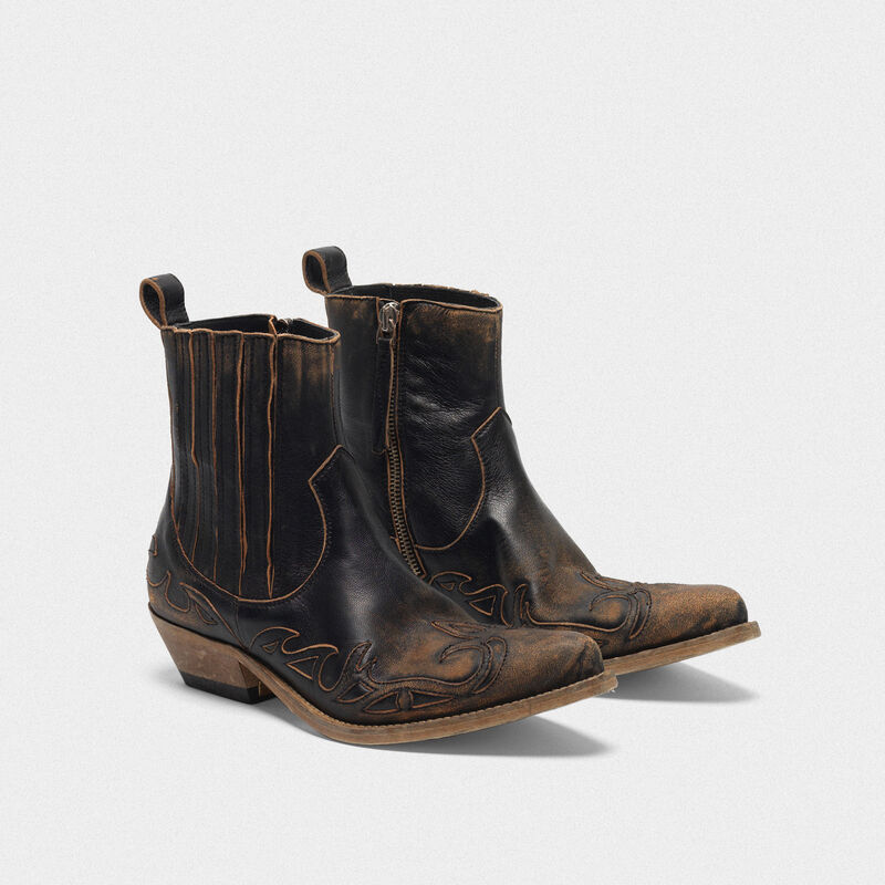 Golden Goose - Black aged-leather Santiago ankle boots in  image number null