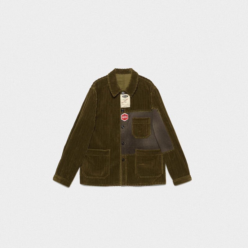 Golden Goose - Taro jacket in corduroy velvet with decorative labels in  image number null