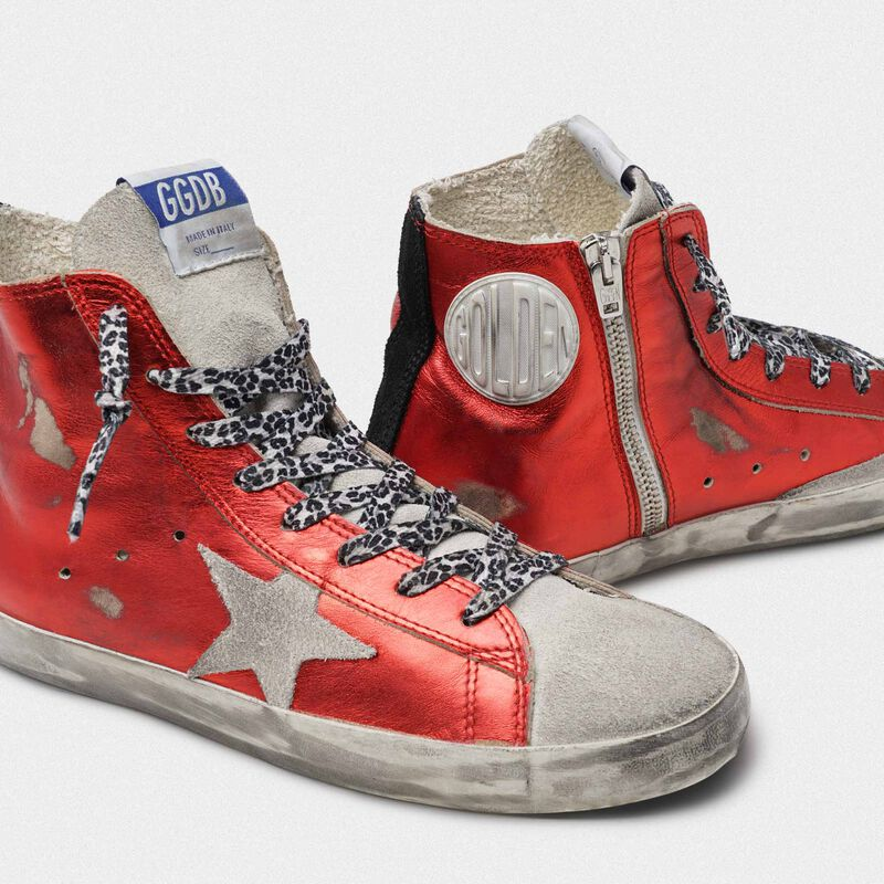 Golden Goose - Francy sneakers in red laminated leather with leopard-print laces in  image number null