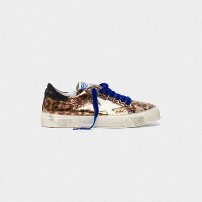 Laminated May sneakers with leopard print effect