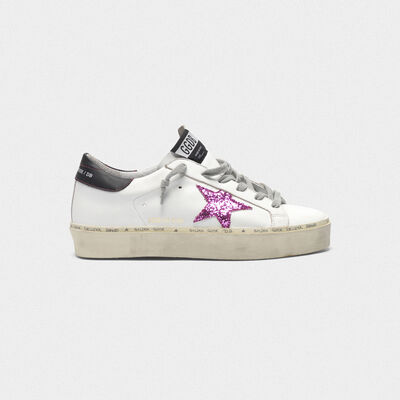 Hi Star sneakers with pink glitter star and black heel tab