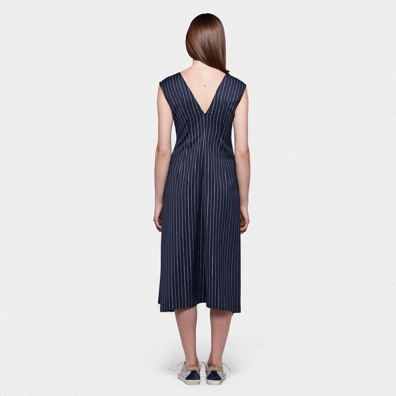 Golden Goose - Sleeveless Sagiso dress in wool blend with pinstripe in  image number null