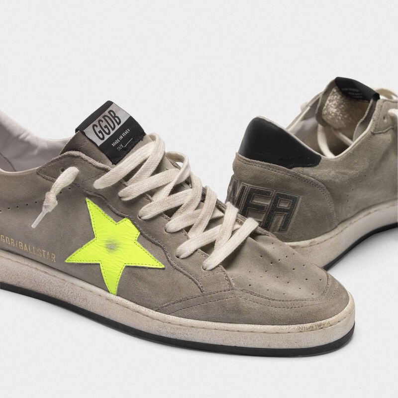 Golden Goose - Ball Star sneakers in grey suede with dayglow star in  image number null