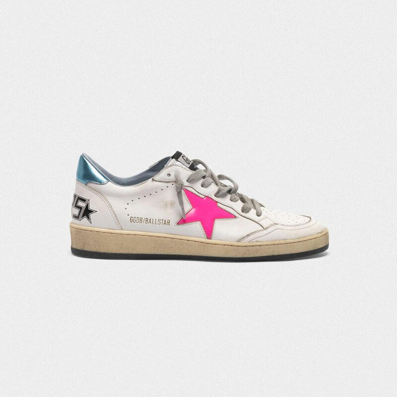 Golden Goose - Ball Star sneakers with fuchsia star and sky blue heel tab in  image number null