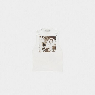 White sleeveless Marfa T-shirt with Cow print