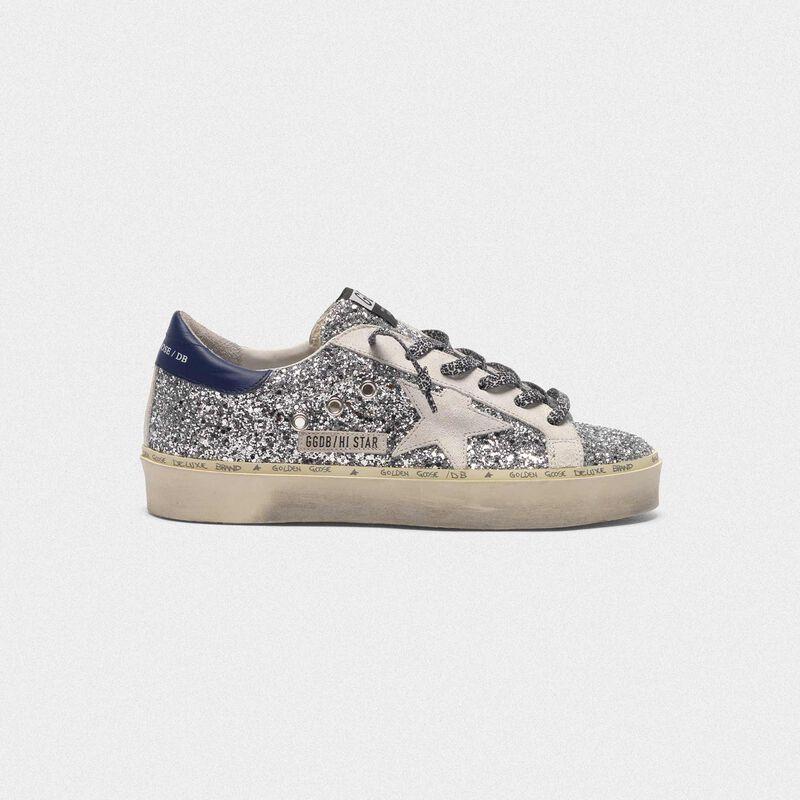 Golden Goose - Sneakers Hi Star con glitter, stella bianca e lacci leopardati in  image number null