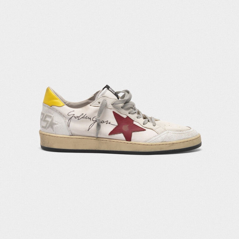 Golden Goose - Sneakers Ball Star in pelle e canvas con firma Golden Goose in  image number null