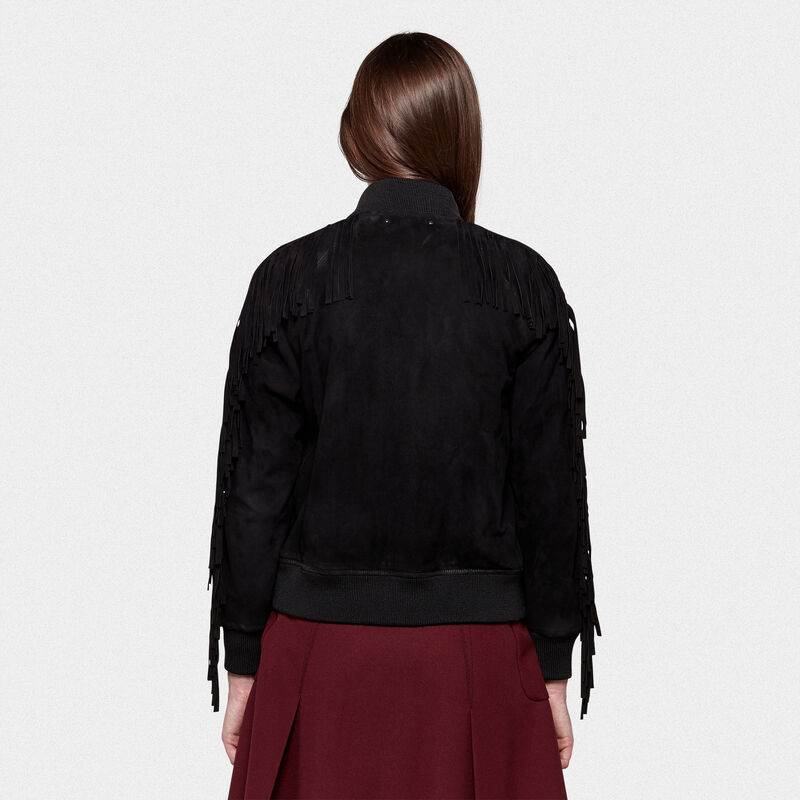 Golden Goose - Akiko bomber jacket in suede leather with fringes on the sleeves in  image number null