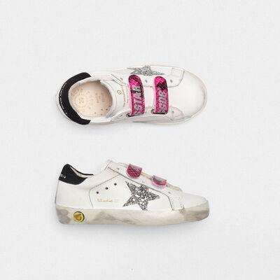 Sneakers Old School con stella glitter e chiusura fuxia pitonata