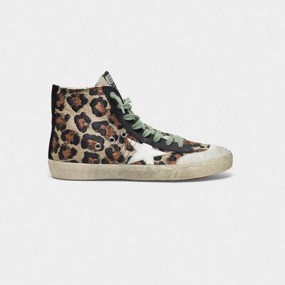 Francy Sneakers in woven raffia with animal print