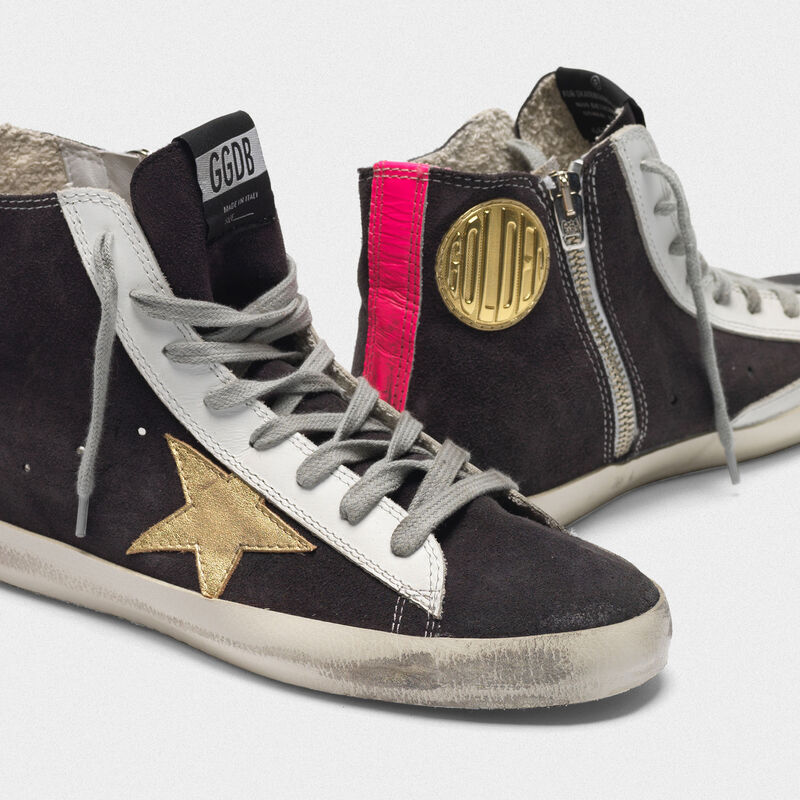 Golden Goose - Francy sneakers in suede with gold star and fuchsia insert on the back in  image number null