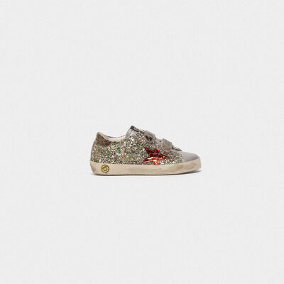 Sneakers Old School in glitter e stella rossa