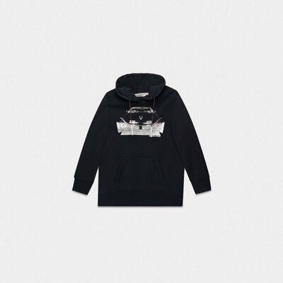 Black Autumn sweatshirt with hood and Cadillac print