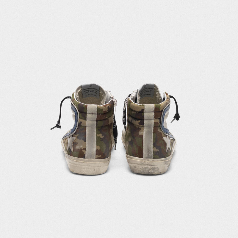 Golden Goose - Silver and camouflage Slide sneakers in  image number null