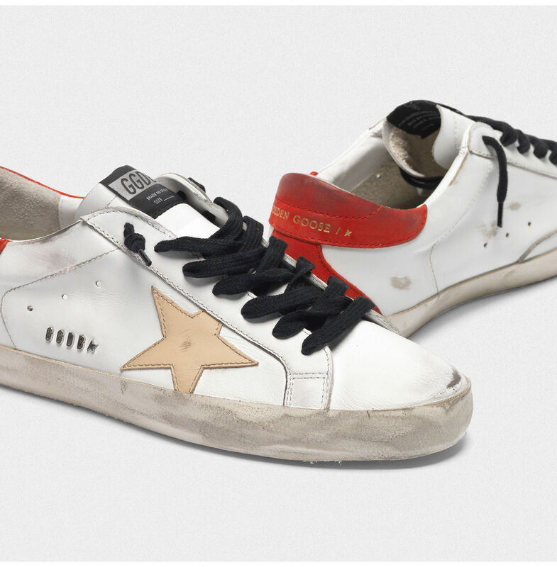 Golden Goose - White Superstar sneakers with red rear and black laces in  image number null