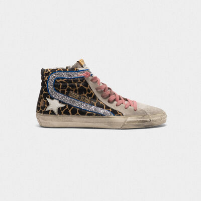 Slide sneakers in leopard-print pony skin