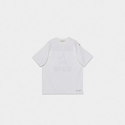 White Hoshi T-shirt with maxi print with logo on the back