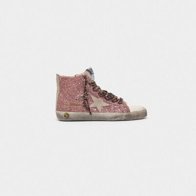 Francy sneakers in silver leather with glitter star
