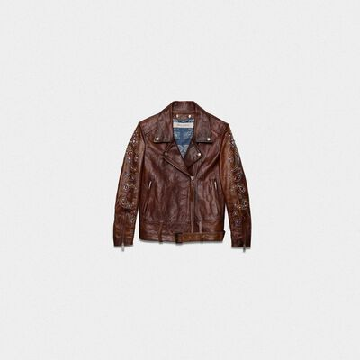 Victoria biker jacket in dark brown crust leather with print on the back