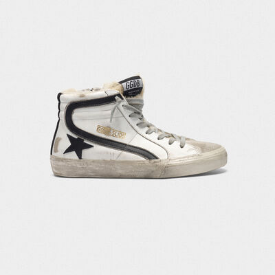 Slide sneakers in leather with shearling insert