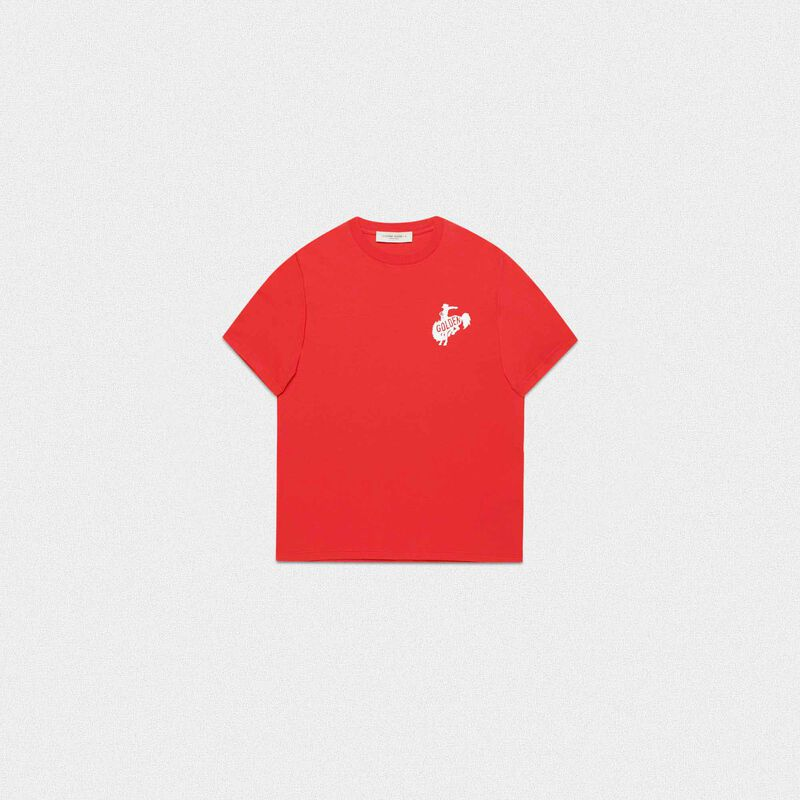 Golden Goose - T-shirt Golden rossa con logo Golden rodeo in  image number null