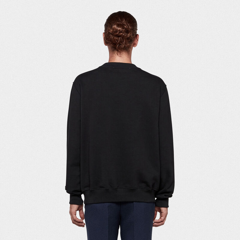 Golden Goose - Hisao sweatshirt in cotton jersey with logo print in  image number null