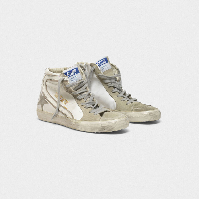 Golden Goose - Sneakers Slide in pelle con stella in camoscio in  image number null