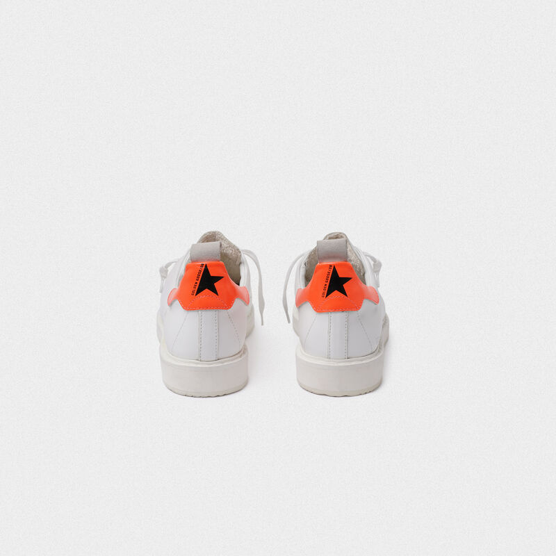 Golden Goose - White Starter sneakers with fluorescent orange heel tab in  image number null
